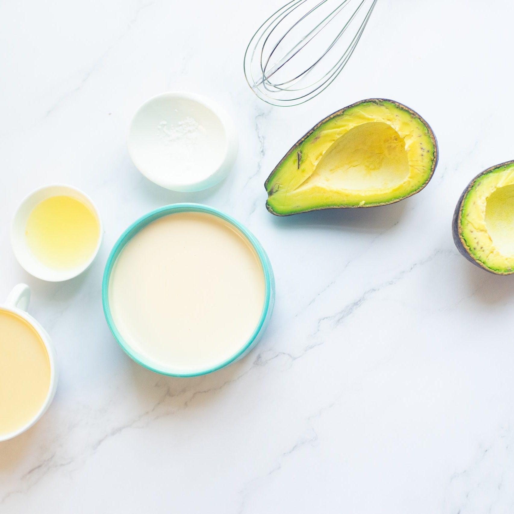 picture of cream, avocado, sugar, condensed milk on a table