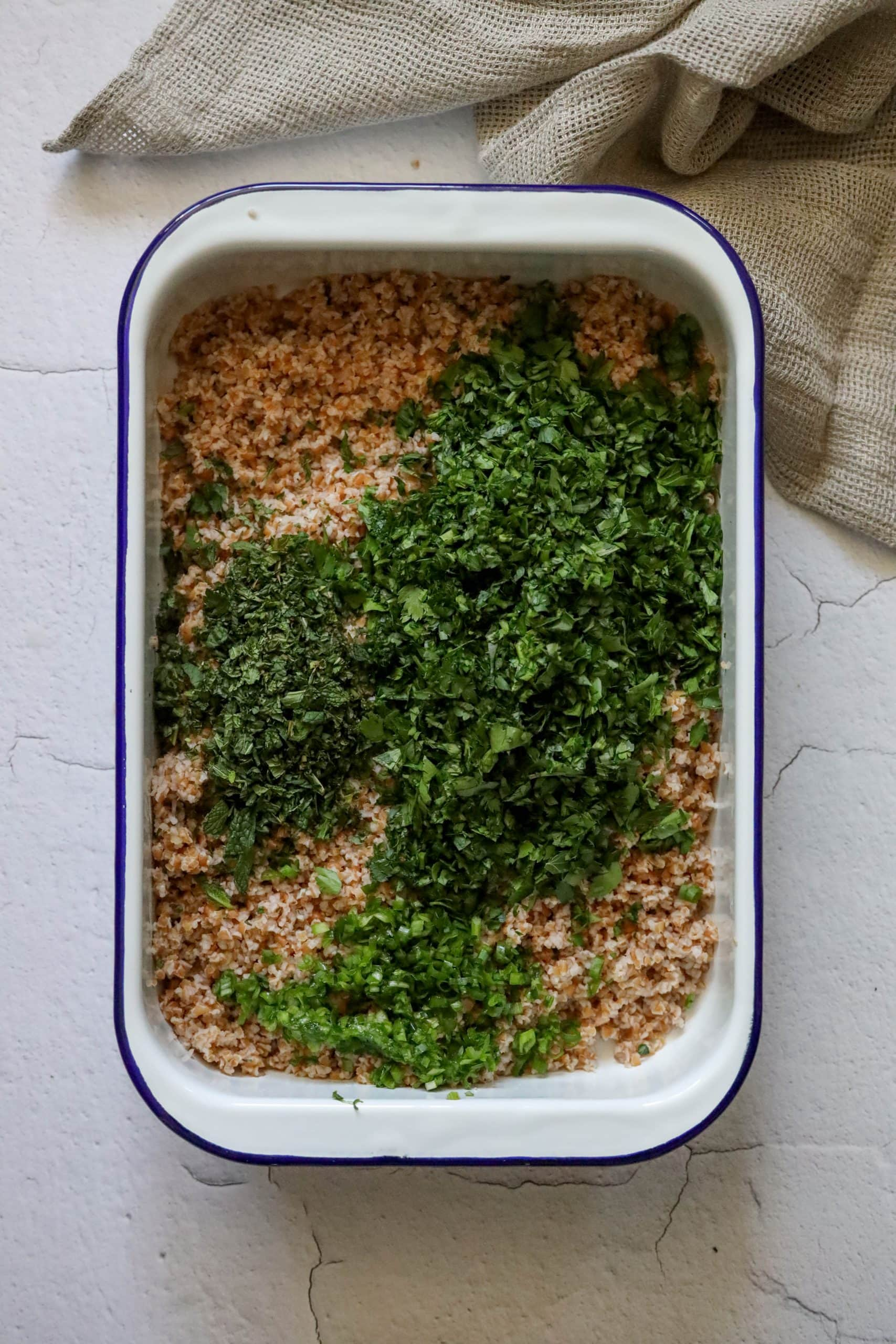 picture of bulgur with finely minced parsley mint and green onion