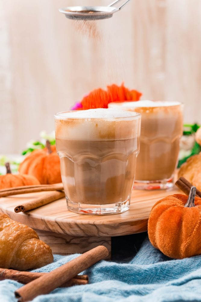picture of pumpkin spice ingredients in a glass