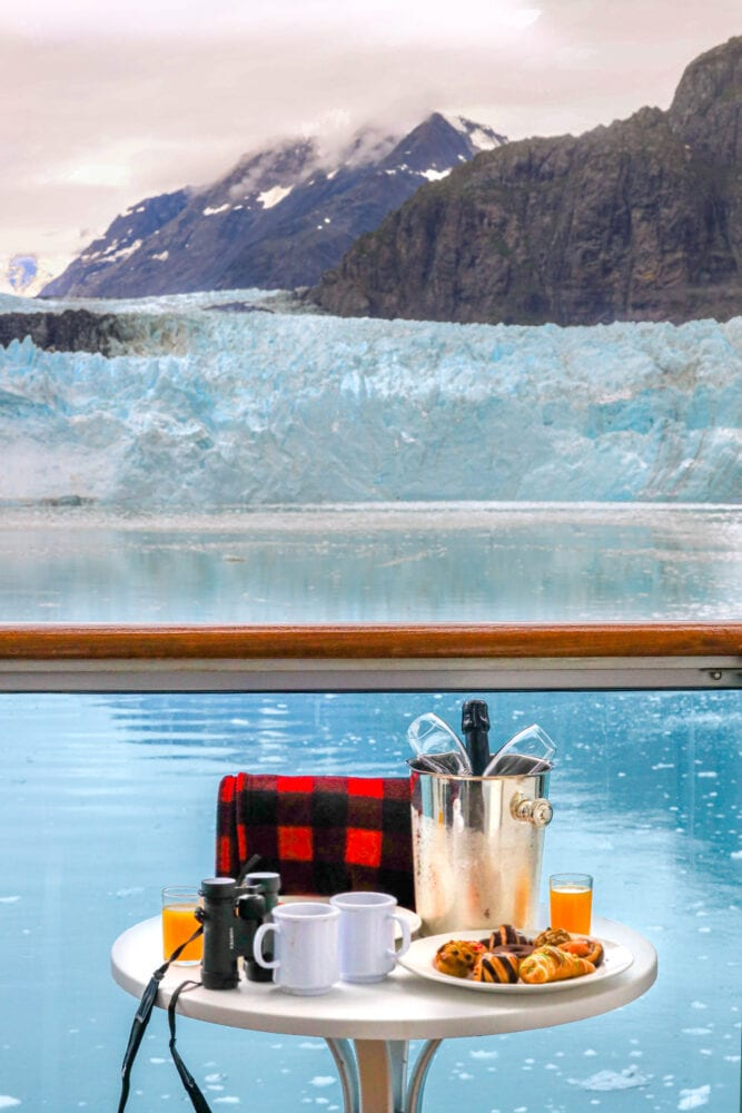 picture of a balcony breakfast on the majestic princess cruise ship in glacier bay national park alaska