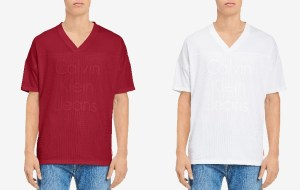 SALE! $8.96 (Reg $44.50) Calvin Klein Logo-Print V-Neck T-Shirt