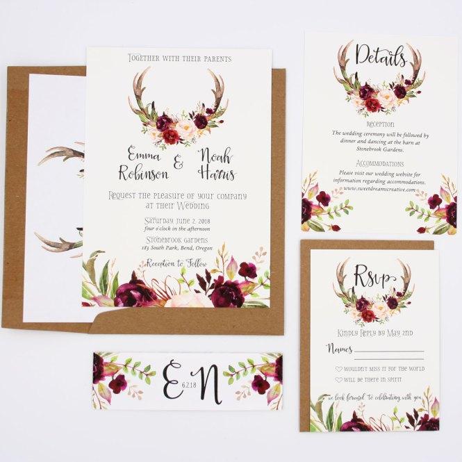 Rustic Fall Wedding Invitation Sample