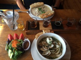 Clam chowder and garlic beer broth clams are both house made and delicious.
