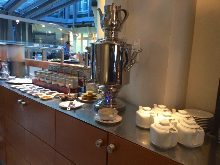 The tea service at the Alexanderplatz Hotel in Berlin during breakfast each morning.
