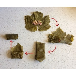 How to fold a grape leaf for dolma