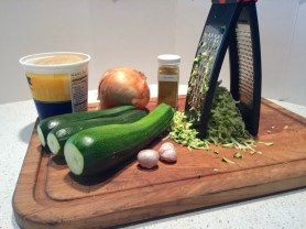 Curried Zucchini Soup ingredients.
