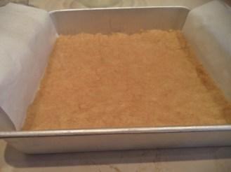 Step 1 - Flour, sugar and melted butter combined and in 10-inch square pan