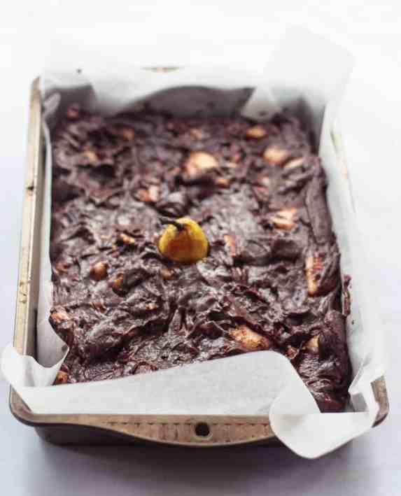 Pear and Walnut Brownie Batter