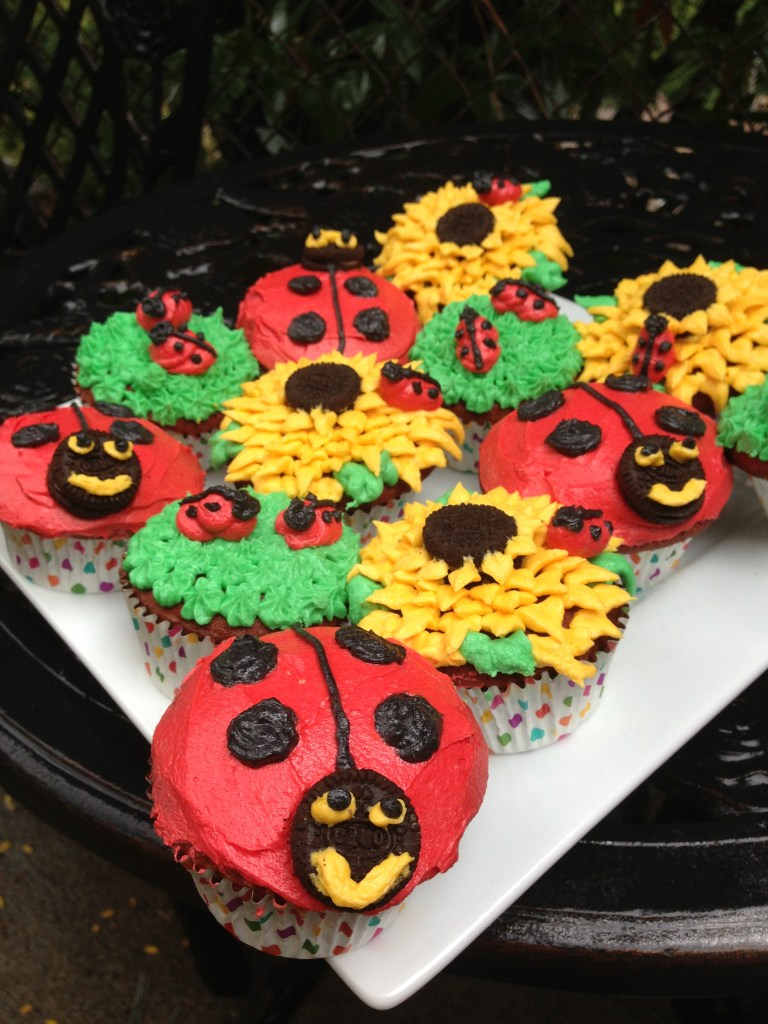 Red Velvet Ladybug and Sunflower Cupcakes