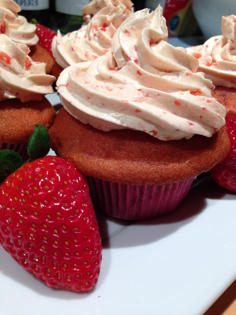 Strawberry Cupcake Recipe with Buttercream Meringue Frosting