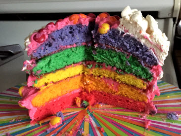 Dyed Layers Inside a Rainbow Cake at Sweetie Pie and Cupcakes