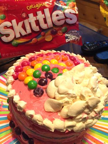 Rainbow Skittles Cake Recipe