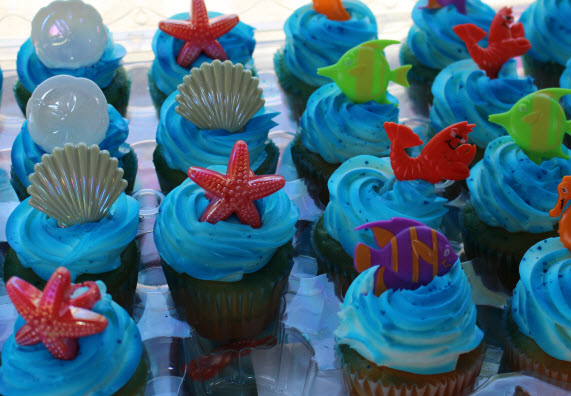 Sea Theme Cupcakes with Toy Rings at Sweetie Pie and Cupcakes