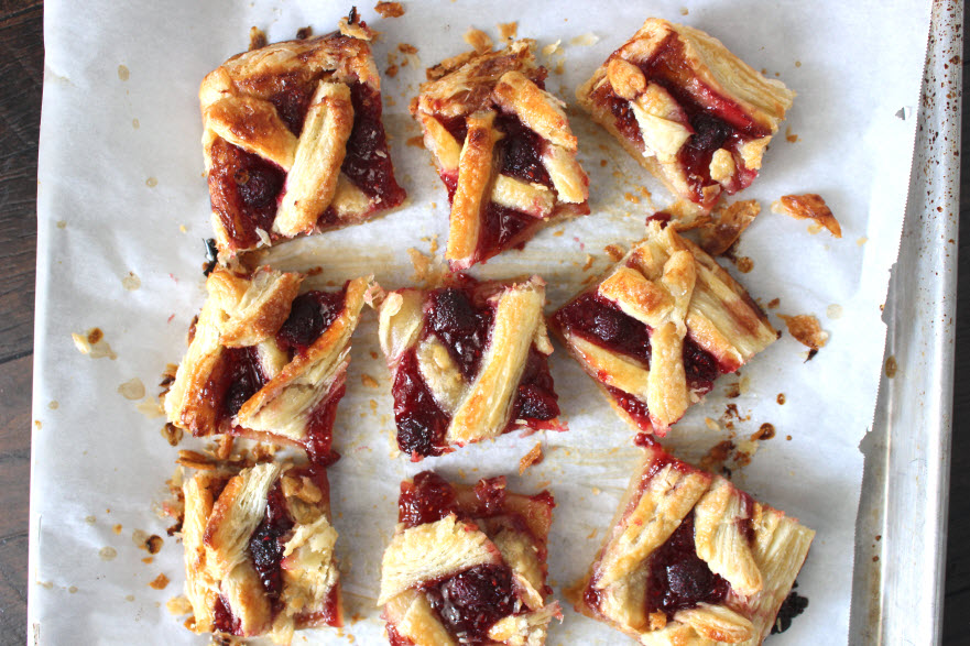Raspberry Tart Dessert made with puff pastry