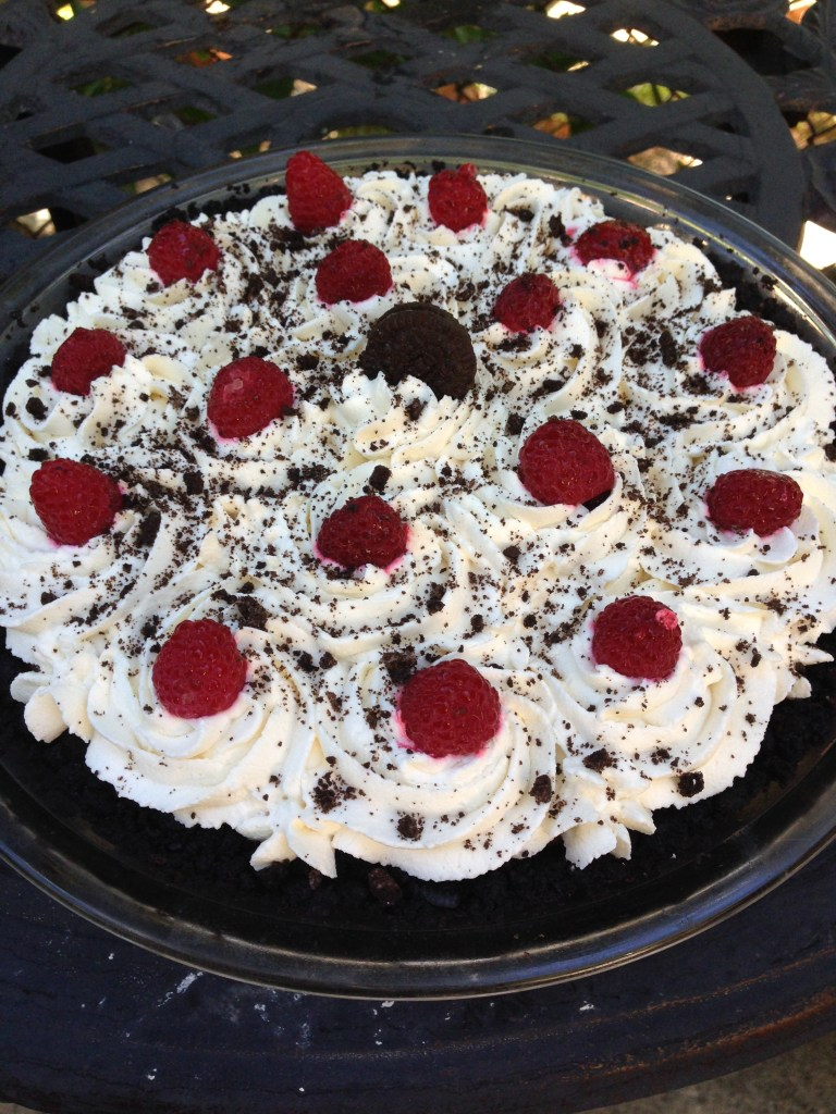 Chocolate Cream Pie with Raspberry Filling and Oreo Crust