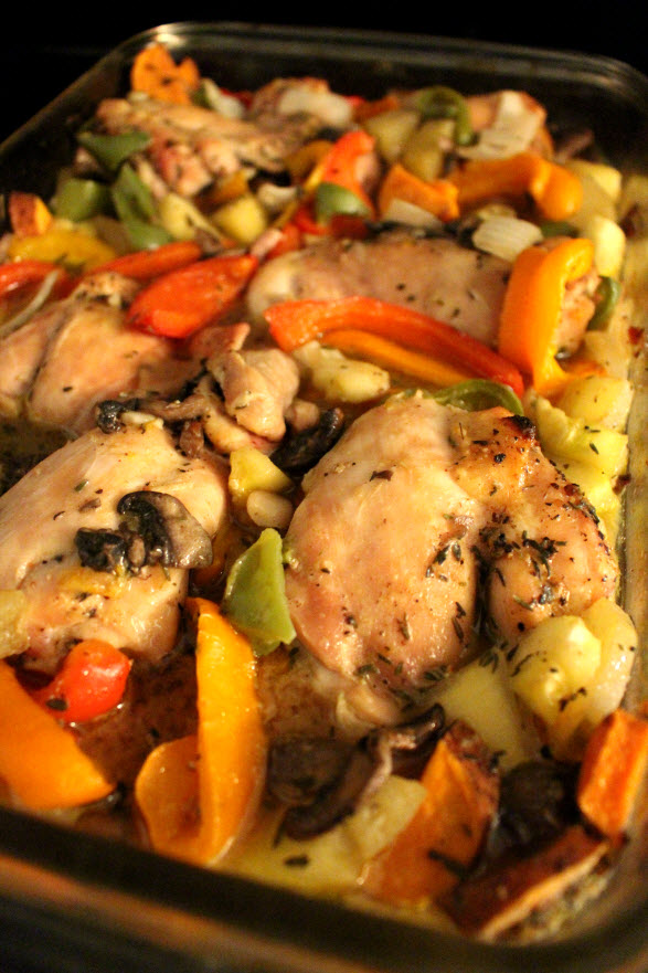 Sweet Orange Chicken with Roasted Veggies Recipe