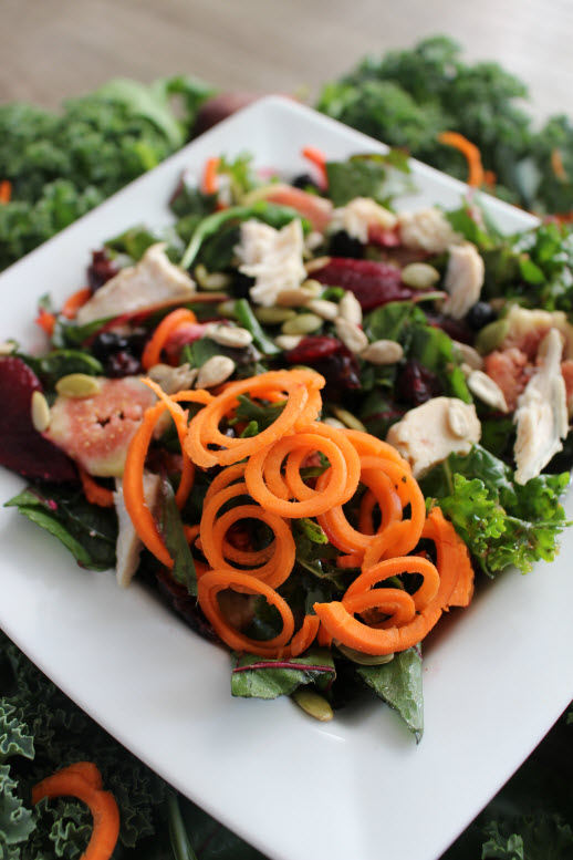 Kale and Swiss Chard Salad with carrots and beets