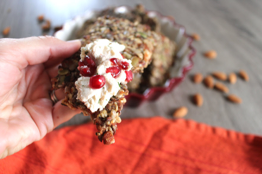 Healthy Cashew Cheese spread on an energy cracker
