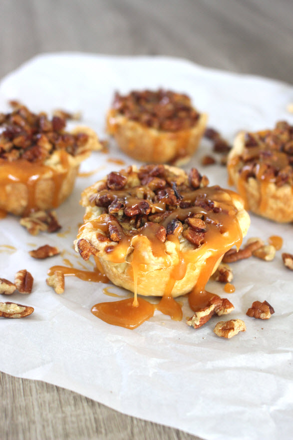 mini caramle pumpkin pecan pies with homemade caramel sauce