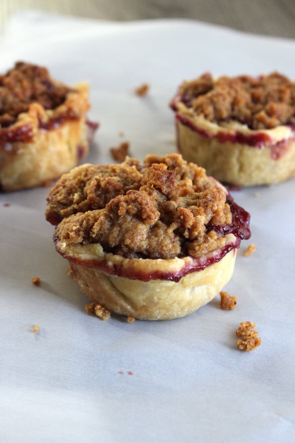 Mini Apple Berry Pie with Crumble Top