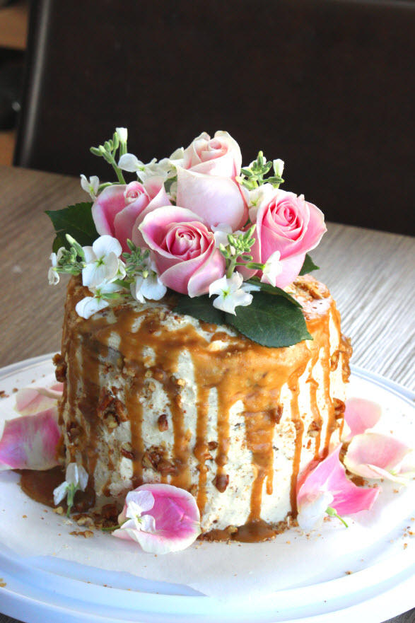 Caramel Pear Pecan Tall Cake Recipe