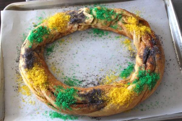 King Cake dough shaped into a circle