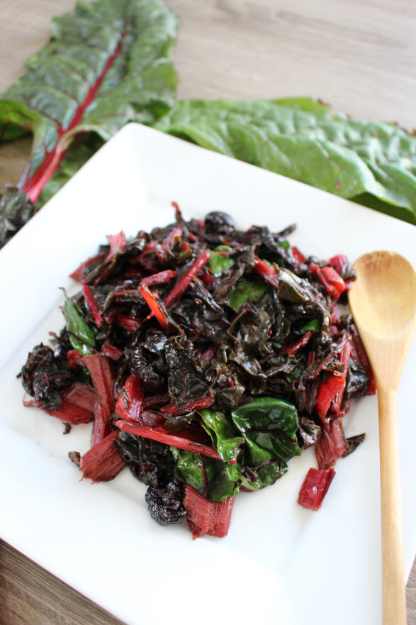 Grilled Swiss Chard with Cherries Recipe