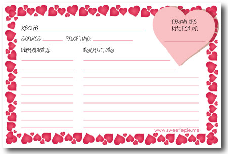 Recipe Cards Sweetie Pie Blog