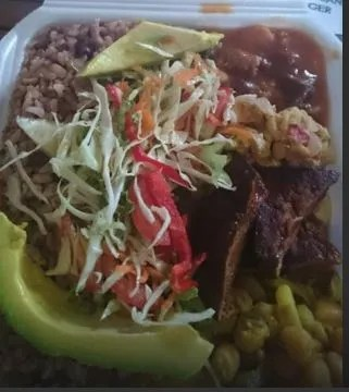 Small Mixed Box Food with Rice and Peas