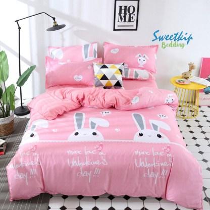 ชุดเครื่องนอน ผ้านวมพร้อมผ้าปูที่นอน ลายกระต่าย