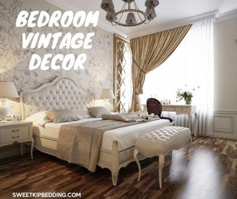 ห้องนอนวินเทจด้วยผ้านวมสีขาว