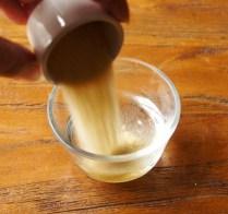 Add gelatine to hot water