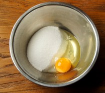 Egg and sugar in a bowl