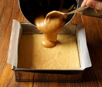 Pour mixture atop shortbread