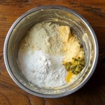 Add flour, almonds & 1/2 of pulp