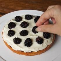 Top with ½ blackberries