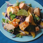 Honey-Lime Chicken Bites with Mango-Jicama Slaw