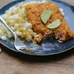 Honey Chipotle Salmon with Creamy Poblano Hominy Salad