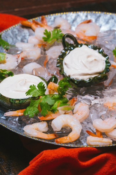 Boiled Shrimp with Chipotle Crema
