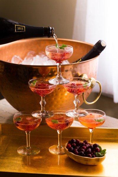 Cranberry Champagne Cocktail + DIY Champagne Tower