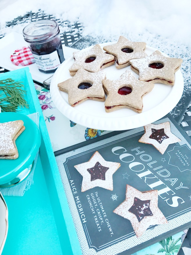 Linzer Cookies assembled with Bonne Maman Black Cherry Spread