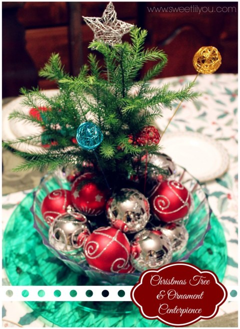 Holiday Centerpiece using a live tree and christmas ornaments sweetlilyou #Shop #HolidayAdvantEdge Price chopper