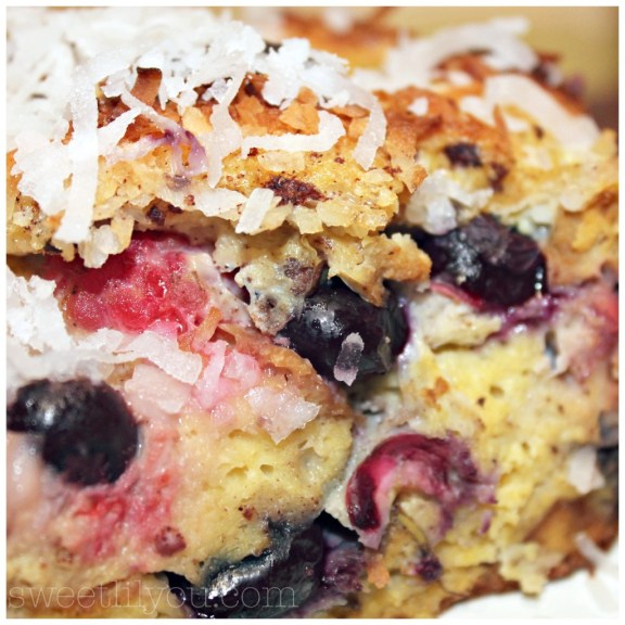 Yummy Red White and Blueberry bakes french toast with coconut blueberries and raspberries King's Hawaiian bread