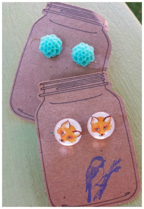 fox and flower earings