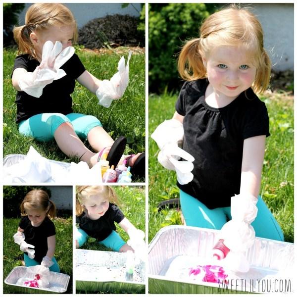 Avery creating her tie-dye shirts