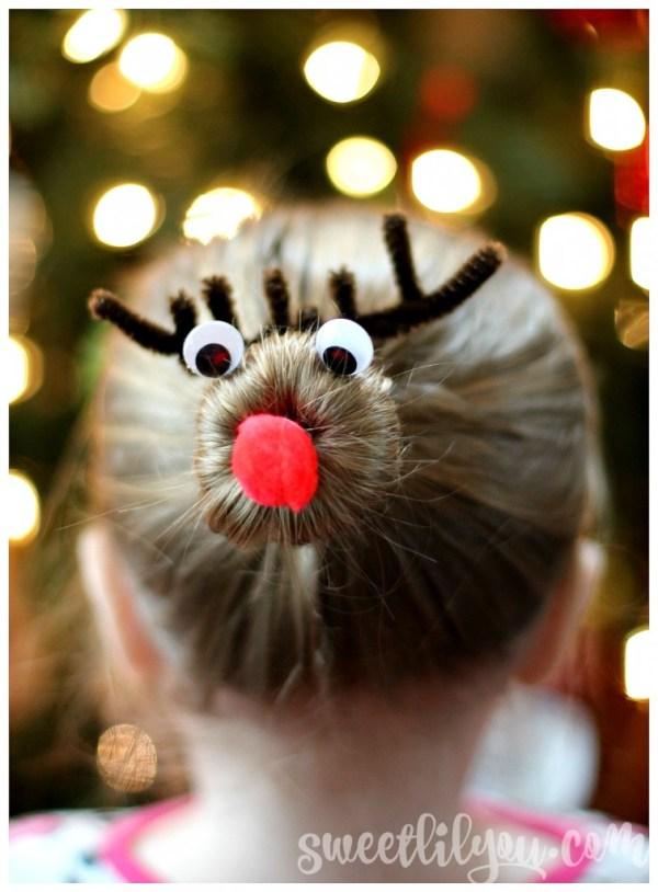 Rudolf Hairstyle Christmas Bun