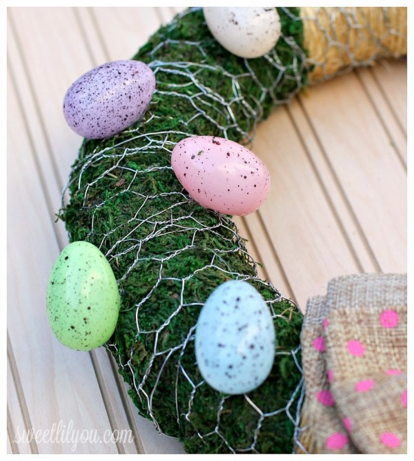 rustic moss easter egg wreath