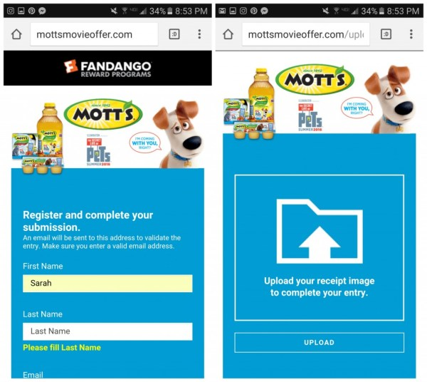 Fandango Motts Movie Offer