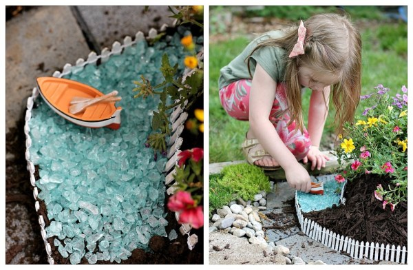 We added blue glass stones and a little boat to create a pond along the track