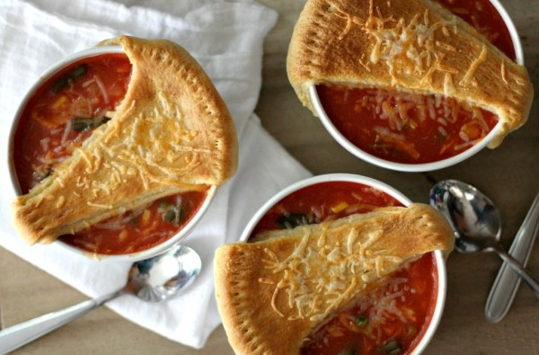 Tomato Soup Chicken Pot Pies with Grilled Cheese Crust